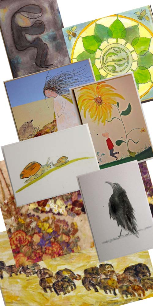 Set of 5 beautiful greeting cards with artwork by Liliana Stafford.